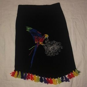 Vintage VIST knit skirt with embroidered parrot